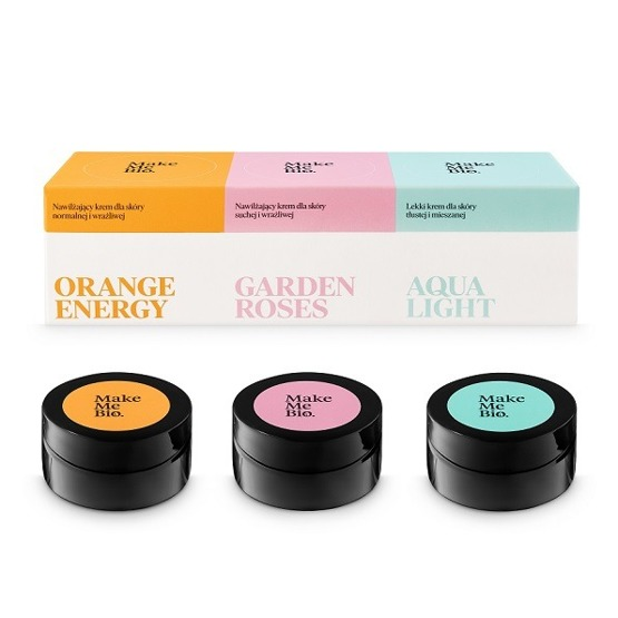 Make Me Bio Zestaw 3 mini kremów Orange Energy, Garden Roses, Aqua Light (3 x 20 ml)